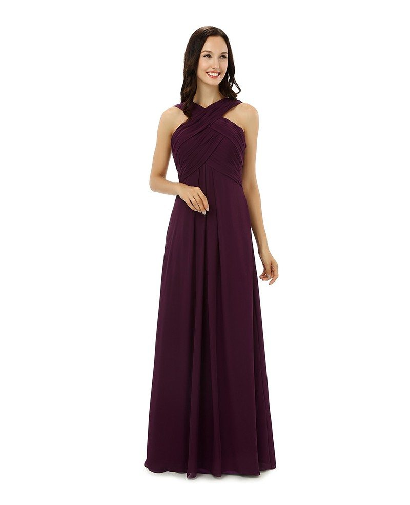 Bridesmaid Dresses: Sheath Halter Sweep-length Bridesmaid Dress #CY0230 $130