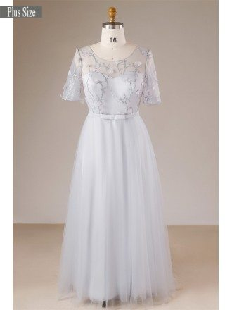 Modest Dusty Grey Plus Size Long Tulle Formal Dress With Sheer Sleeves
