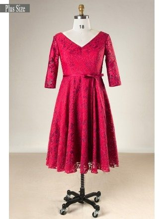 Plus Size Burgundy Lace Short Women Formal Dress With Half Sleeves