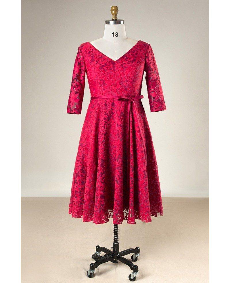 Plus size burgundy lace short women formal dress with half for Burgundy wedding dresses plus size