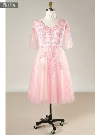 Plus Size Pink Lace And Tulle Short Formal Occasion Dress With Short Sleeves