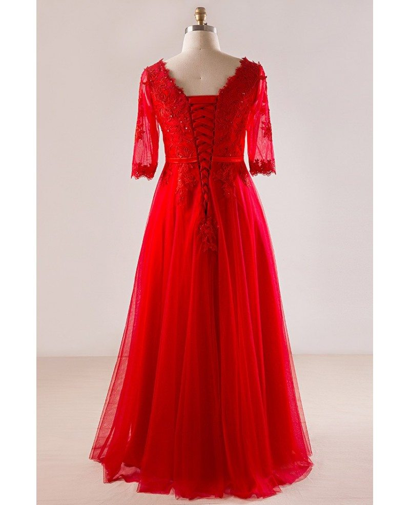 plus size red lace and tulle long formal occasion dress