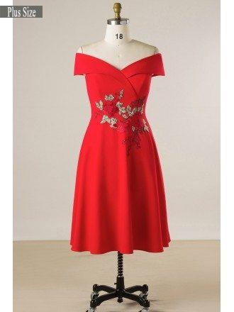 Sheath Plus Size Women Off Shoulder Embroideried Short Party Dress