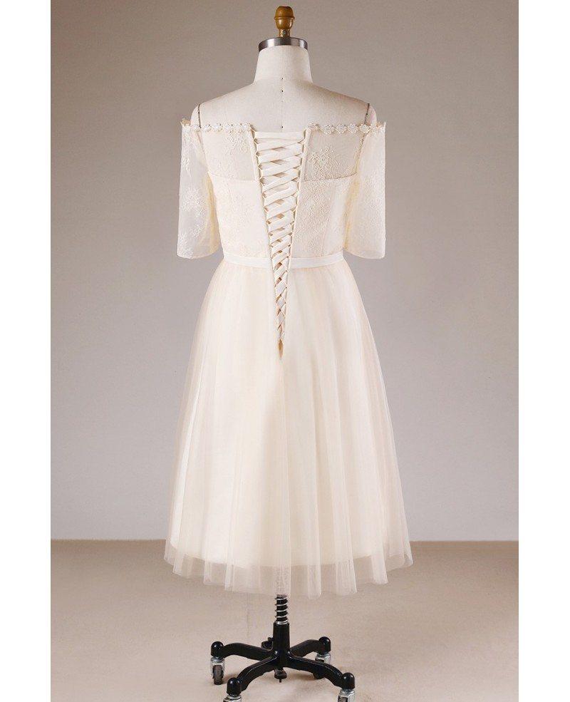 Plus Size Champagne Short Lace Off Shoulder Bridal Party