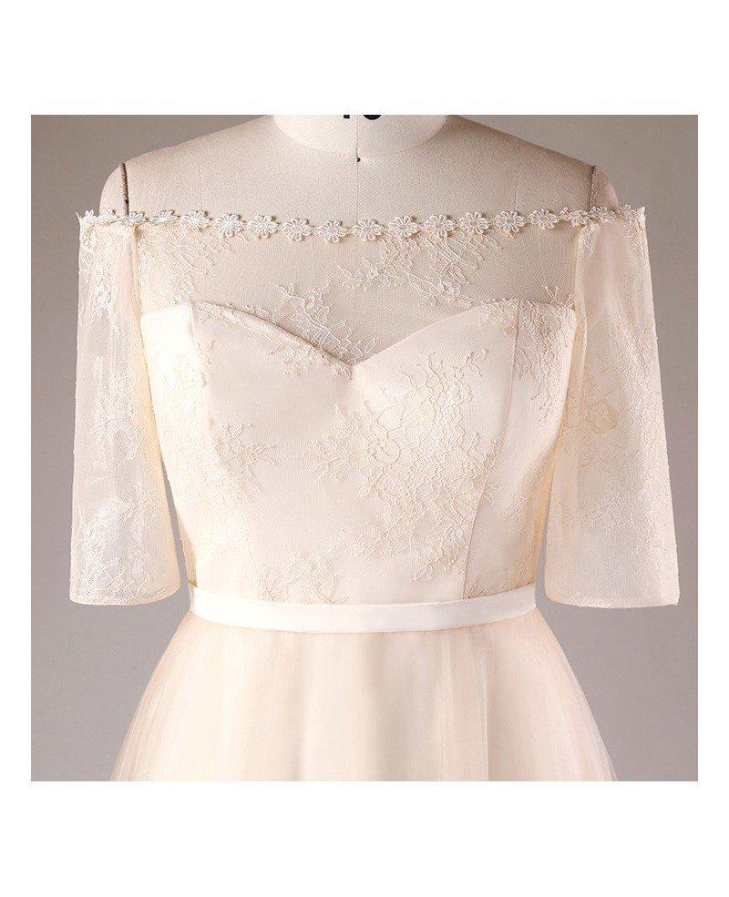 Plus size champagne short lace off shoulder bridal party for Short champagne wedding dress