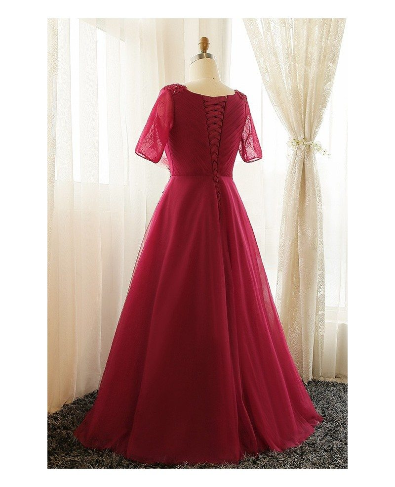 Plus size burgundy long tulle formal party dress with for Burgundy wedding dresses plus size