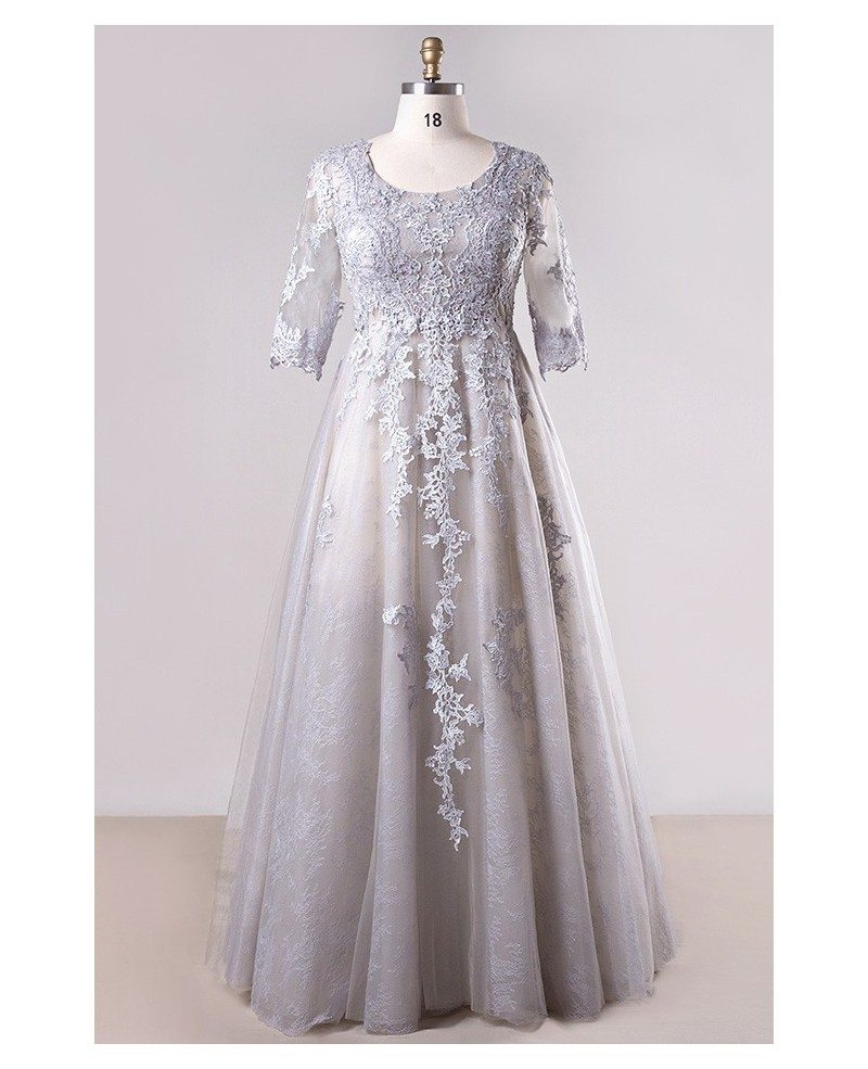 Plus Size Grey Long Lace Formal Dress With Lace Sleeves