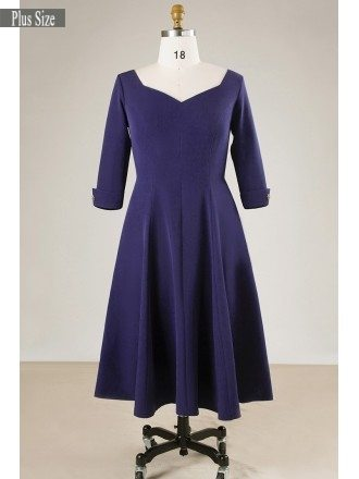 Vintage Plus Size Women Navy Blue Short Party Dress With Sleeves
