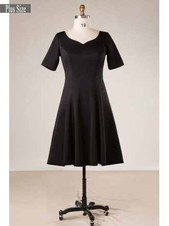 Plus Size Women Simple Black Short Party Dress With Sleeves