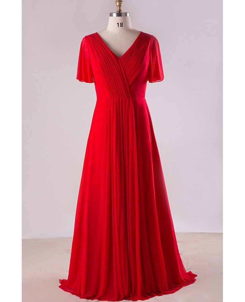 Plus size flowing red chiffon sweep train long formal for Plus size wedding party dresses