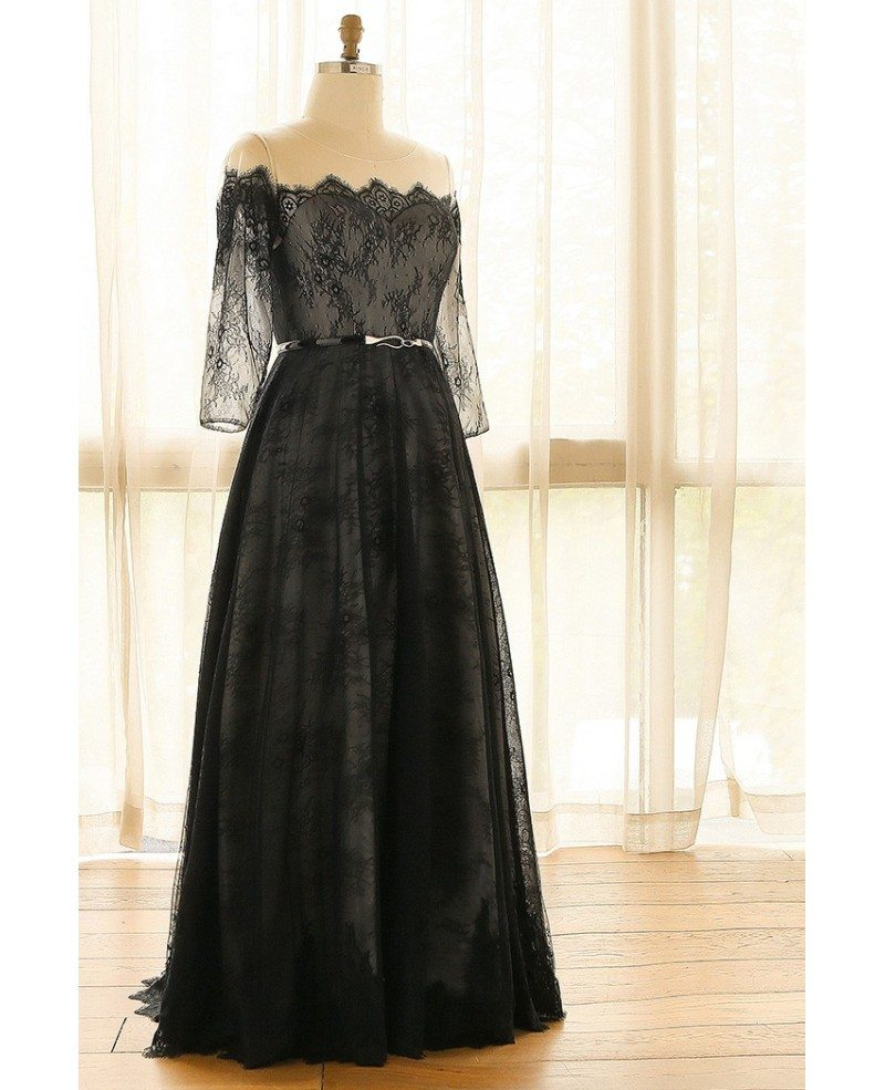 Elegant Off Shoulder Long Black Lace Plus Size Formal Occasion ...