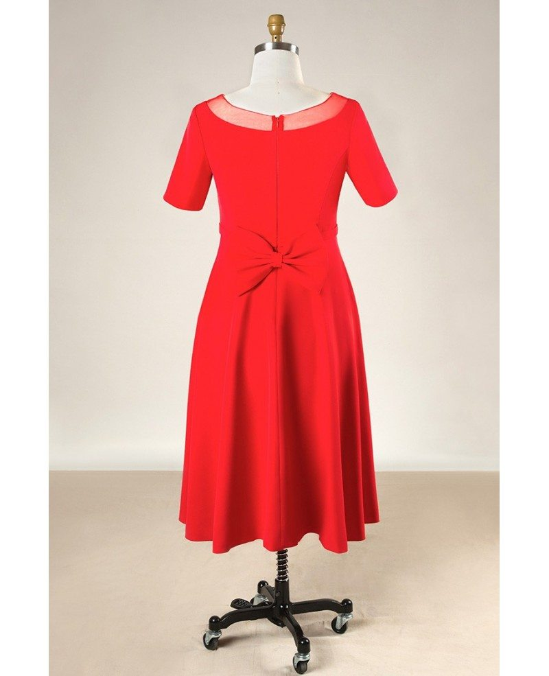 Plus size simple short red formal bridal party dress with for Plus size wedding party dresses