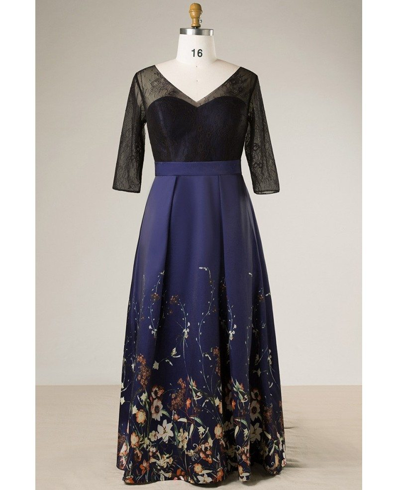 Plus Size Black With Navy Blue Floral Print Long Formal Dress With ...
