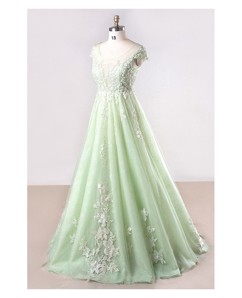 Plus Size Mint Green Lace Tulle Cap Sleeve Long Formal Party Dress ...