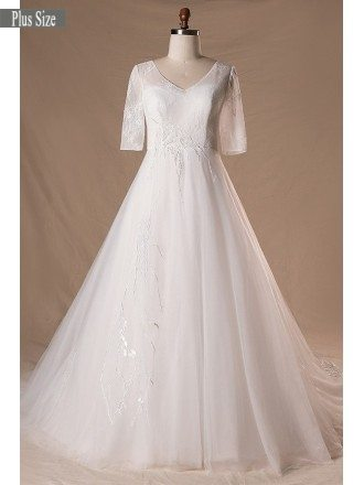 Modest V-neck And Short Sleeve Long White Plus Size Wedding Dress With Sleeves