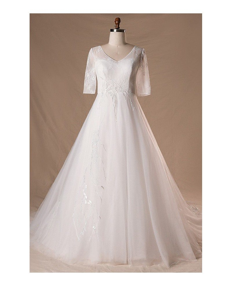 Modest v neck and short sleeve long white plus size for Plus size wedding dresses with color and sleeves