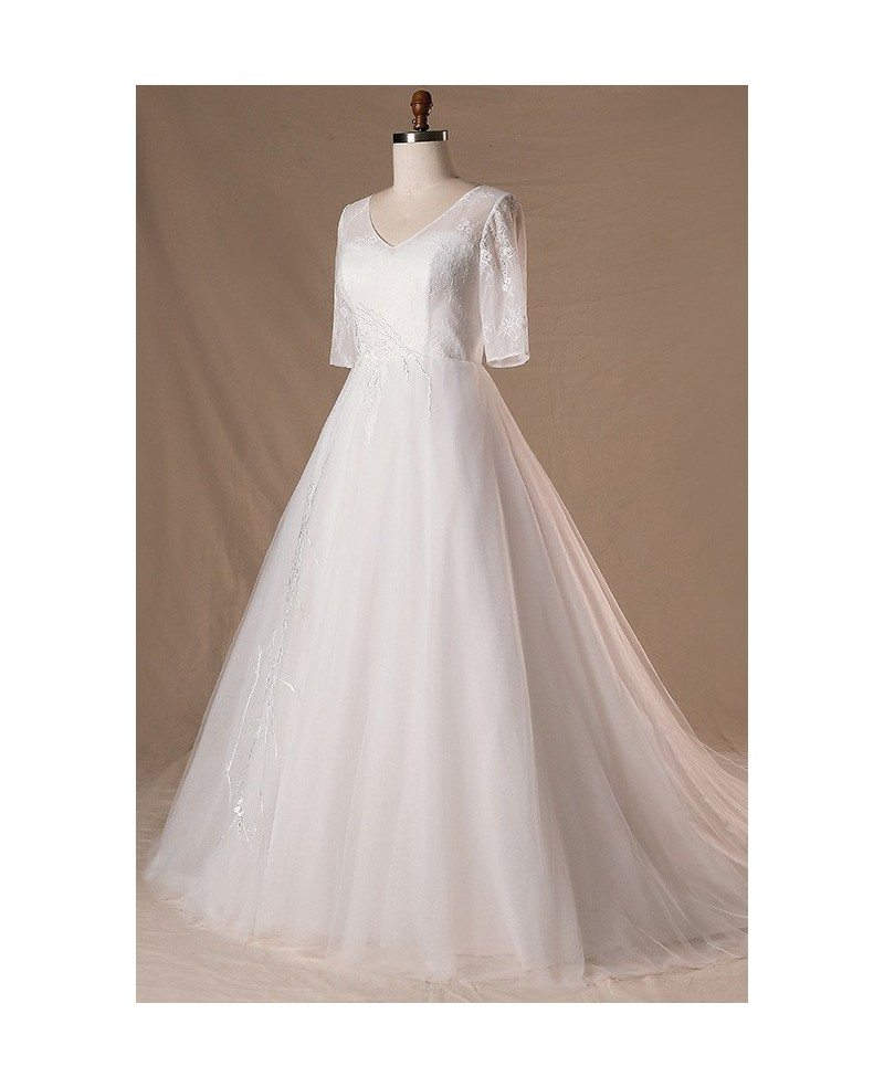 Modest v neck and short sleeve long white plus size for Petite wedding dresses with sleeves