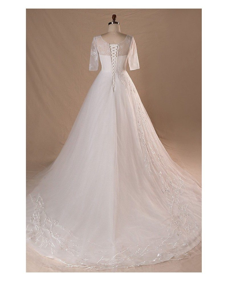 Modest v neck and short sleeve long white plus size for Long sleeve plus size wedding dress