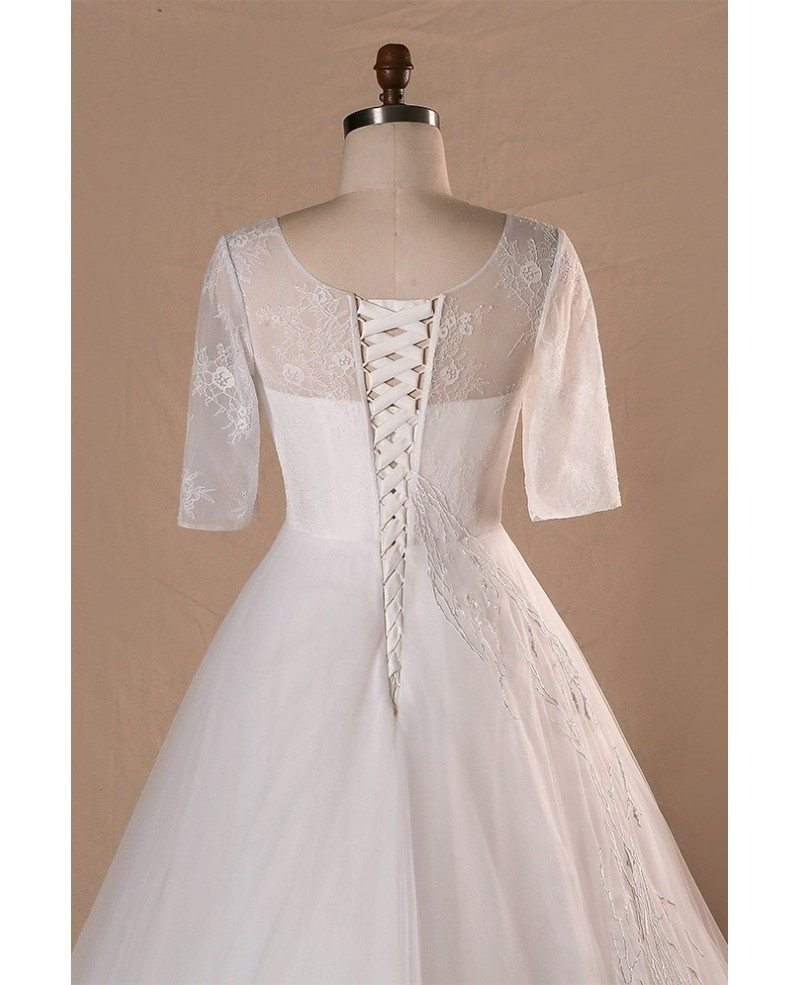 Modest v neck and short sleeve long white plus size for Plus size short wedding dresses with sleeves