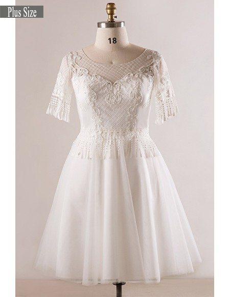 GRACE LOVE Custom Plus Size Unique Lace Short White Wedding Dress