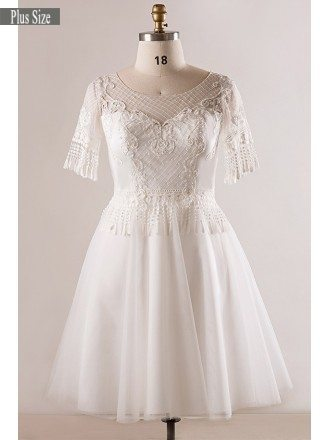 Custom Plus Size Unique Lace Short White Wedding Dress