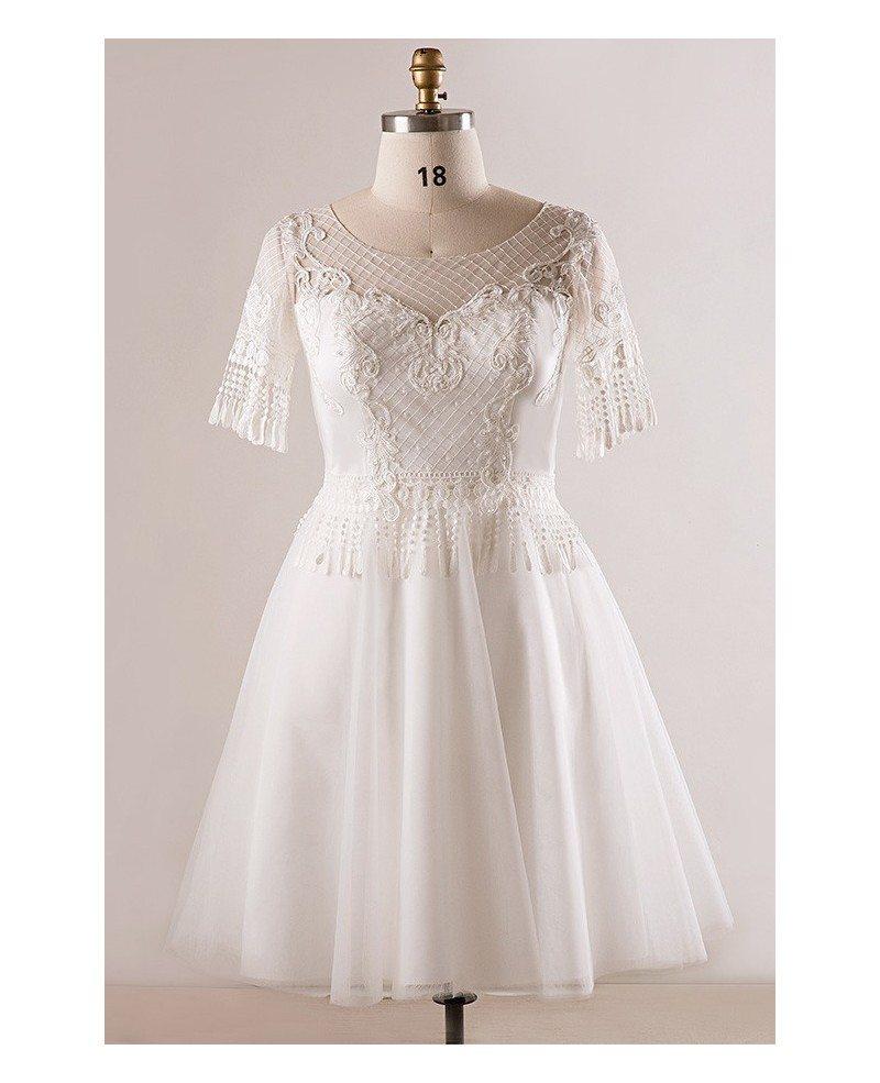 Custom plus size unique lace short white wedding dress for Lace short wedding dresses