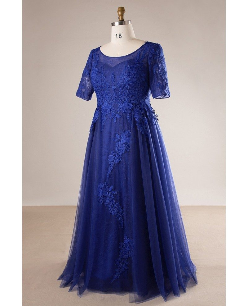 Plus Size Royal Blue Long Tulle And Lace Evening Dress With Sleeves ...