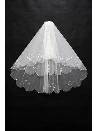 Elegant Short White Comb Tulle Wedding Veil with Beading