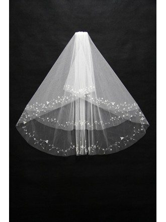 Simple beaded short bridal veil with comb