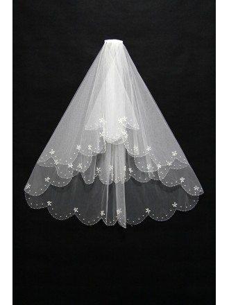 Gorgeous Short Comb Bridal Veil with Wavy Beading Hem