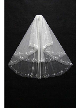 Simple Beading Tulle Bridal veil in short length