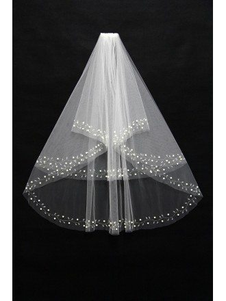 Beautiful Beading Ivory Bridal veil in Elbow Length