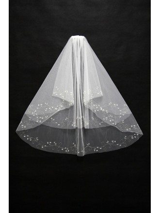Short Length Beading Ivory Bridal veil with Comb