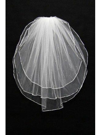 Cheap Beading Bridal Veil in 3 Layers