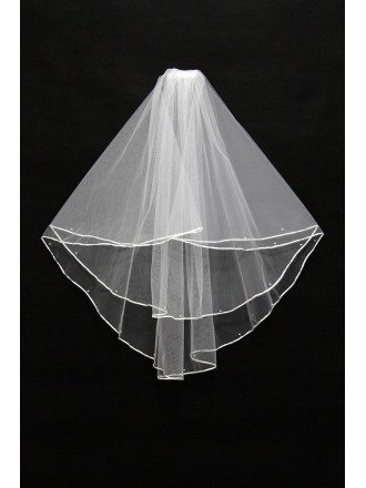 Cheap Simple short white bridal veil with beading