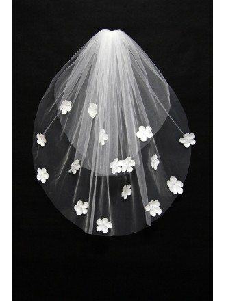 Simple White Tulle Wedding Veil with Flowers