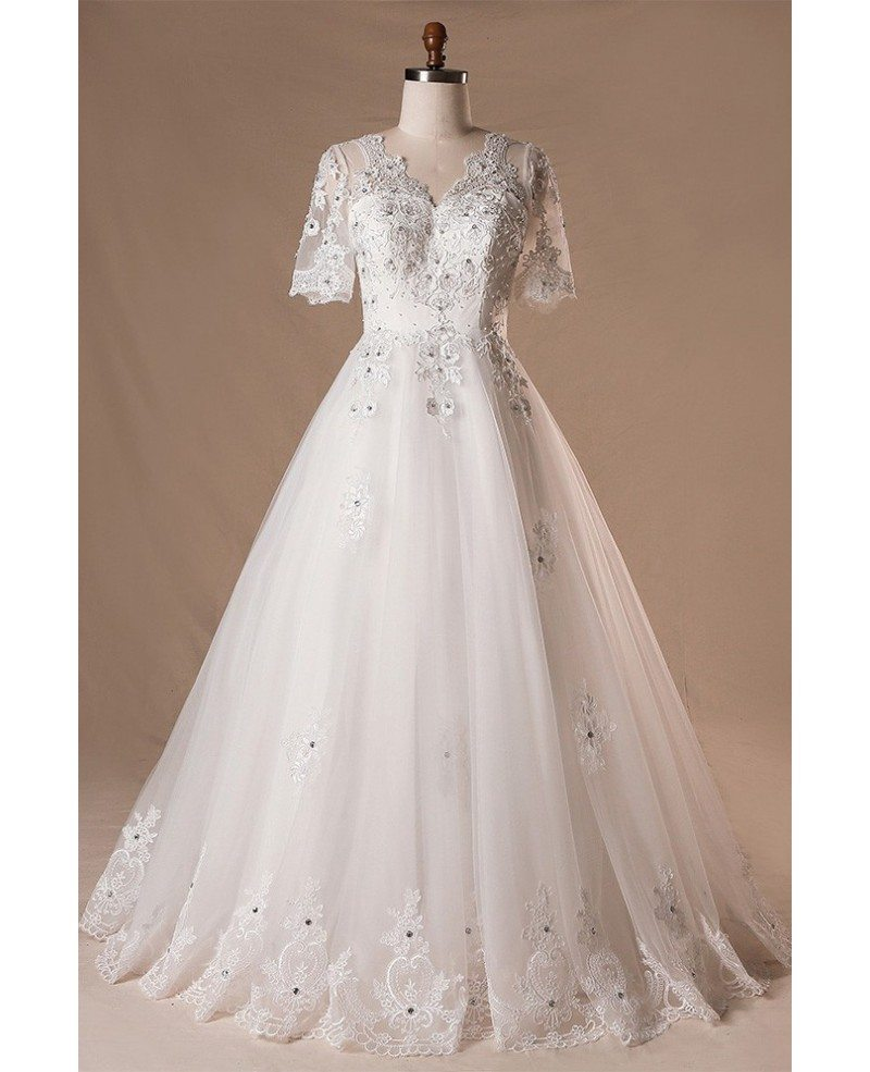 Plus size beaded lace tulle wedding dress with short for Tulle wedding dress with sleeves