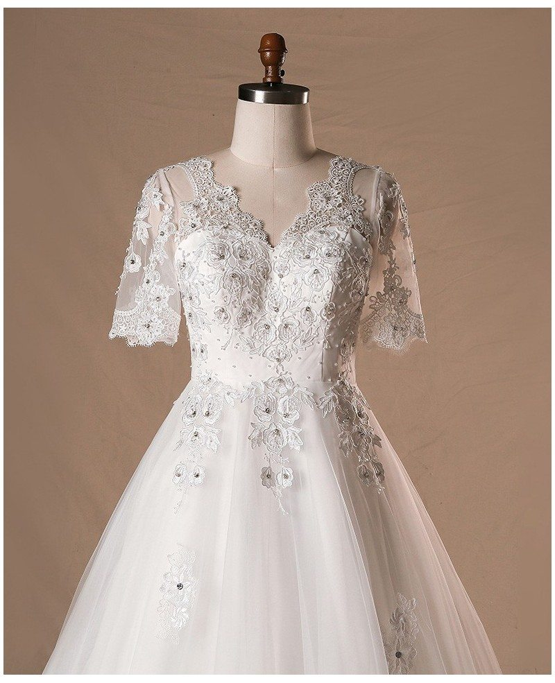 Plus Size Beaded Lace Tulle Wedding Dress With Short