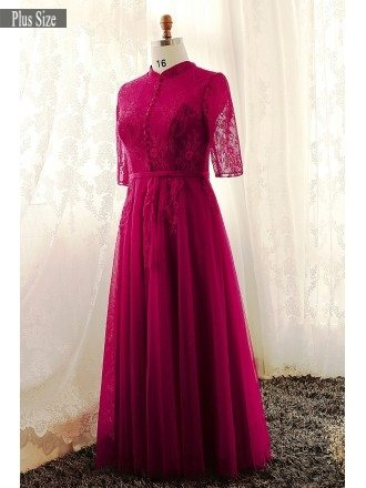 Plus Size Burgundy High Neck Lace Long Tulle Formal Dress With Lace Sleeves