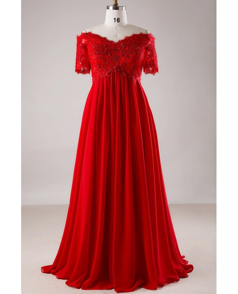 plus size red sequin lace off shoulder empire long formal