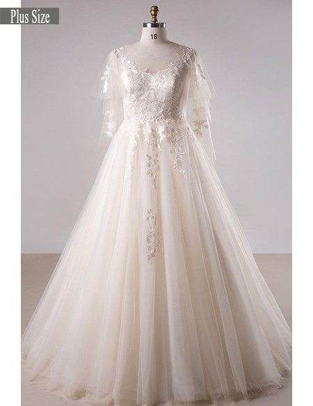 Plus size light champagne lace long tulle country wedding for Plus size champagne colored wedding dresses