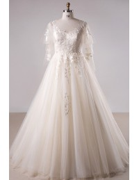 Plus Size Light Champagne Lace Long Tulle Country Wedding Dress ...