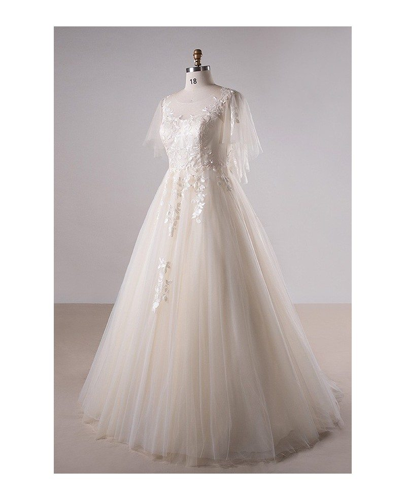 Plus size light champagne lace long tulle country wedding for Wedding dress champagne lace
