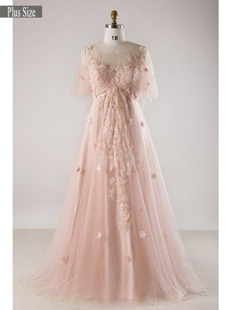 Plus Size Blush Pink Flowing Long Tulle Flowers Long Formal Dress