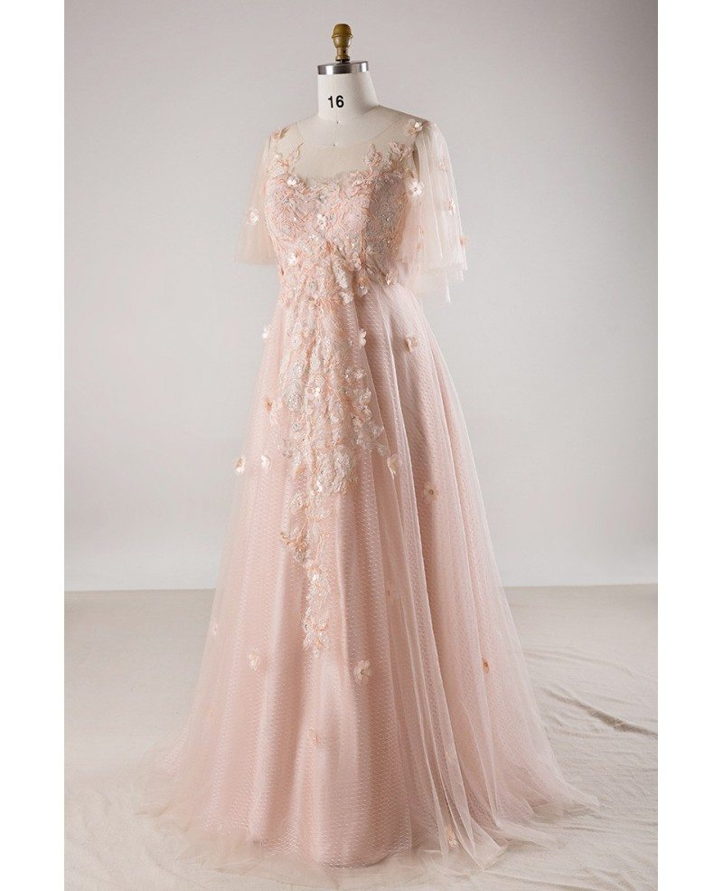 Plus Size Blush Pink Flowing Long Tulle Flowers Long Formal Dress ...