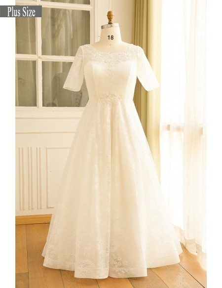 GRACE LOVE Plus Modest Plus Size Ivory Lace Mature Women Wedding Dress With  Short Sleeves
