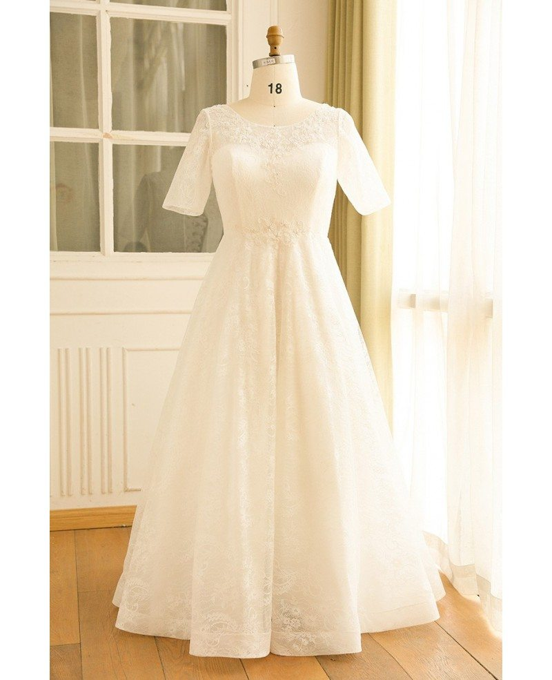 Modest plus size ivory lace mature women wedding dress for Plus size short wedding dresses with sleeves