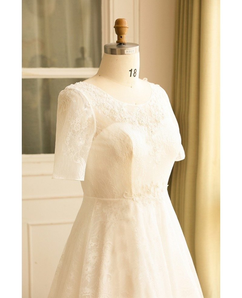 Modest plus size ivory lace mature women wedding dress for Ivory lace wedding dresses
