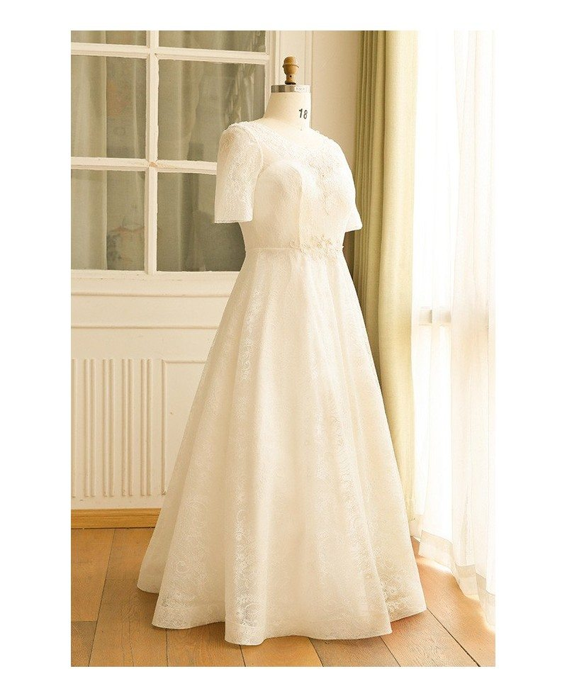 Modest plus size ivory lace mature women wedding dress for Plus size lace wedding dresses with sleeves