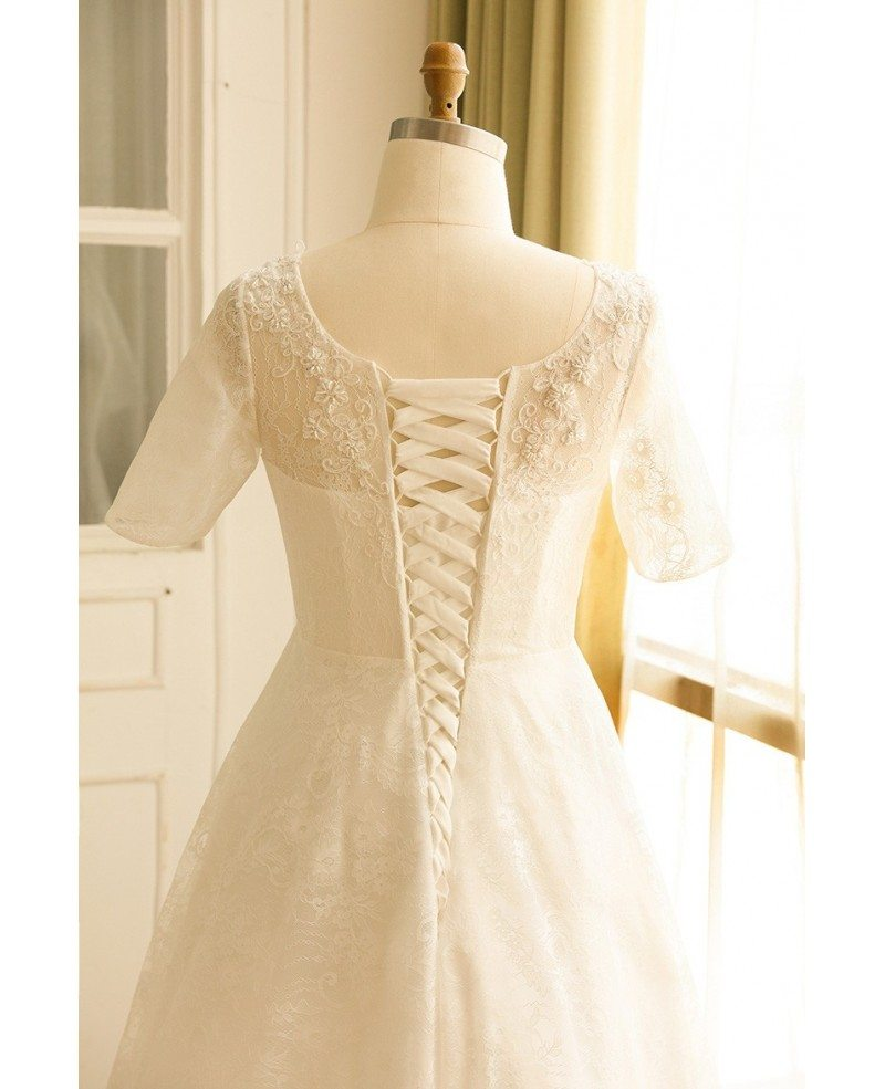 Modest plus size ivory lace mature women wedding dress for Short modest wedding dresses